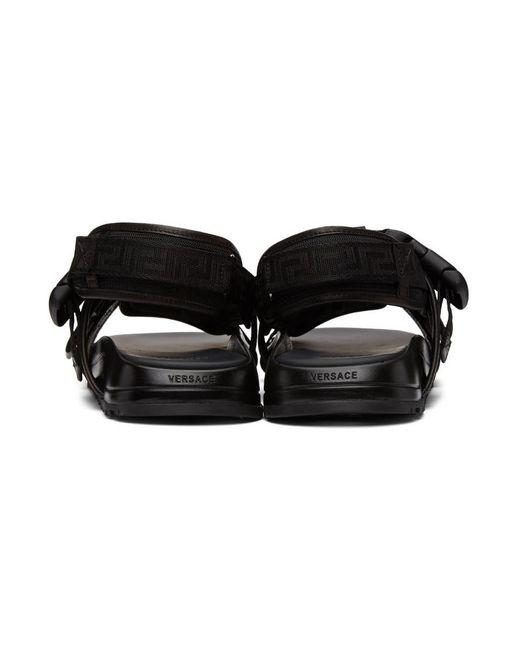 メンズ Versace ブラック Greca ストラップ サンダル Black