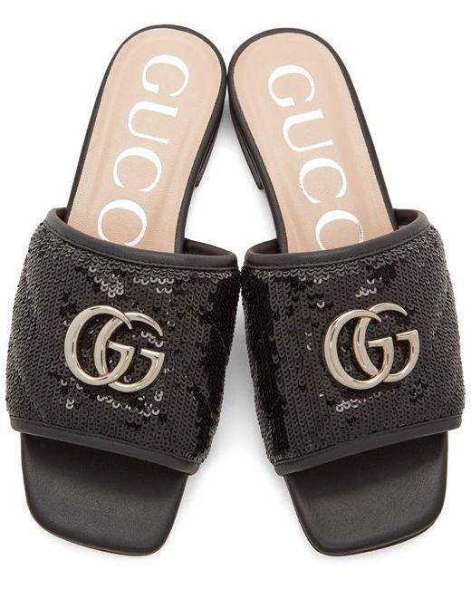 Gucci ブラック Sequin GG スライド Black