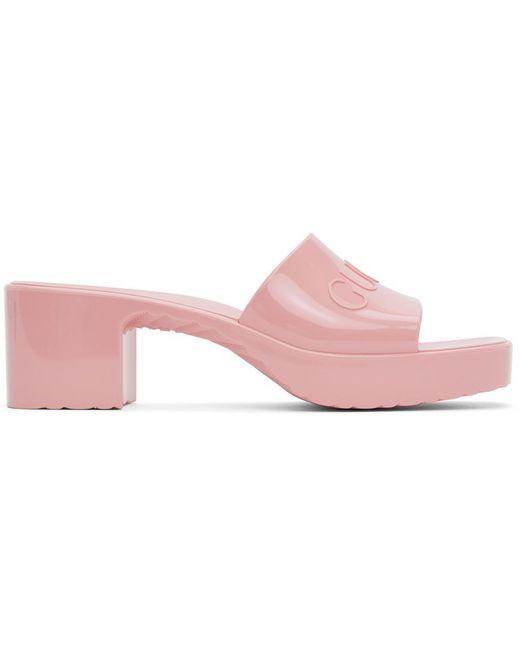 Gucci ピンク ラバー スライド サンダル Pink