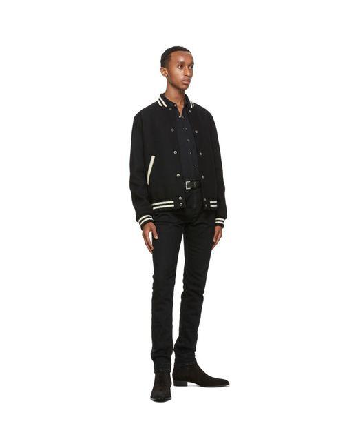 メンズ Saint Laurent ブラック And シルバー モノグラム ベルト Black