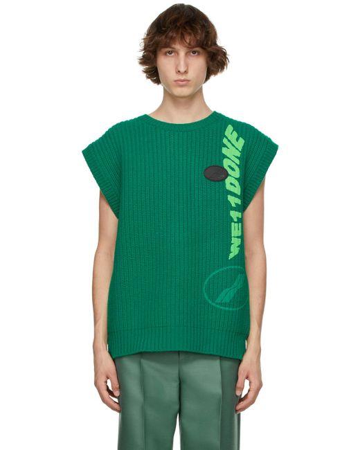 メンズ we11done グリーン マルチロゴ ベスト Green
