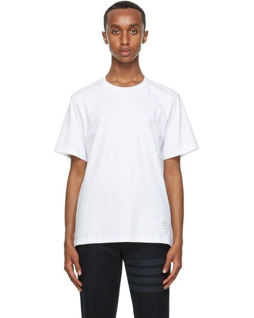 メンズ Thom Browne ホワイト リラックスフィット T シャツ White