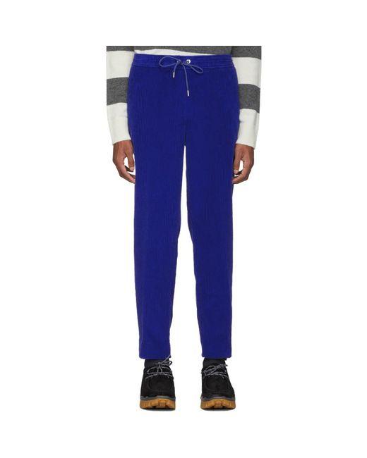 メンズ Moncler ブルー ベルベット Sportivo トラウザーズ Blue