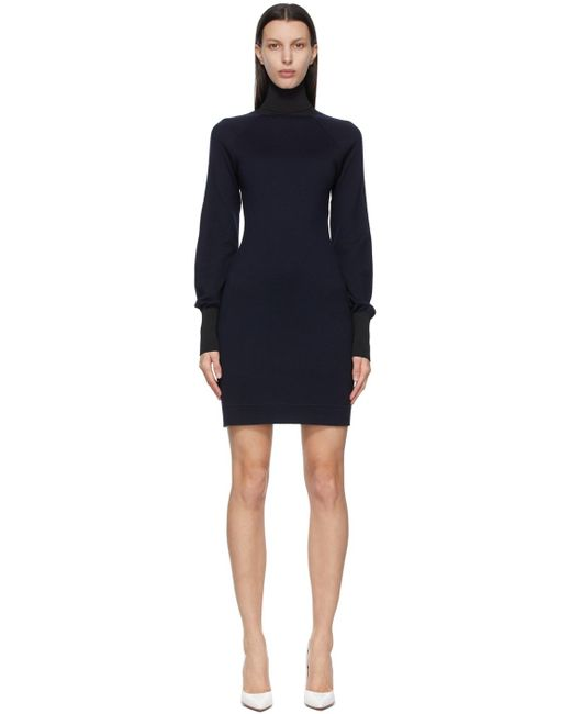 Victoria Beckham ネイビー タートルネック ドレス Blue