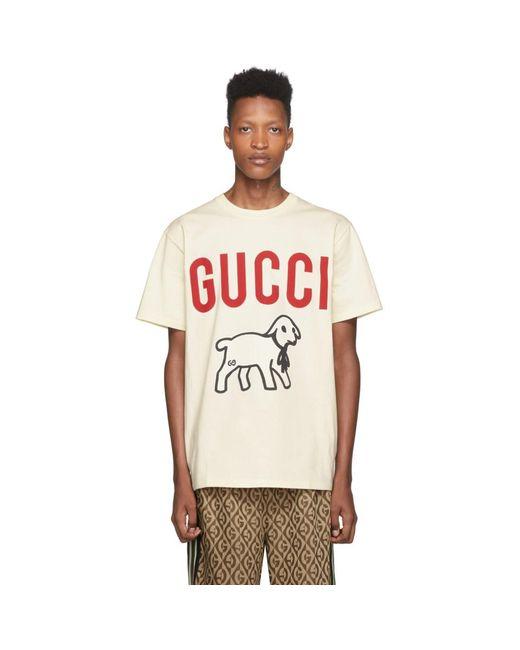 メンズ Gucci オフホワイト プリント T シャツ White