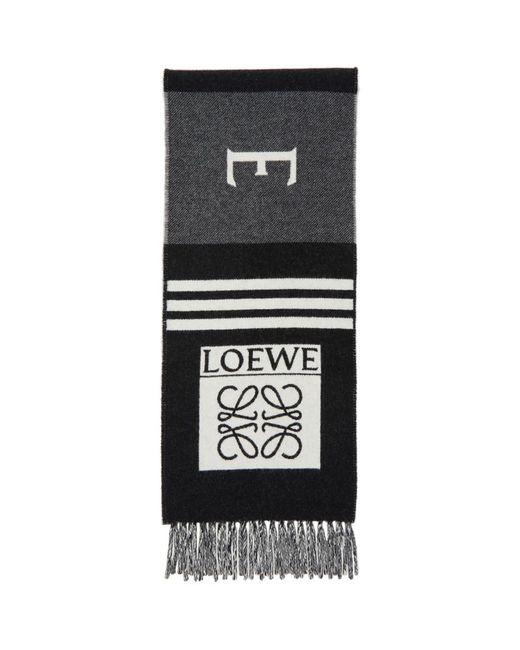 メンズ Loewe ブラック And グレー ウール Football マフラー Black