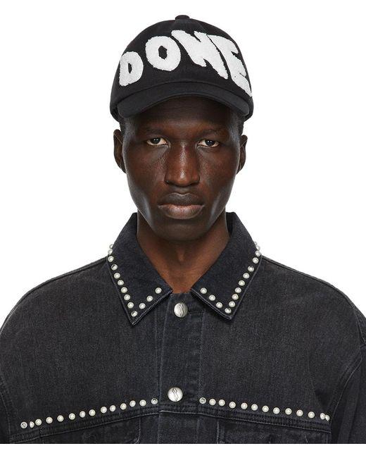 メンズ we11done ブラック エンブロイダリー パッチ ロゴ キャップ Black