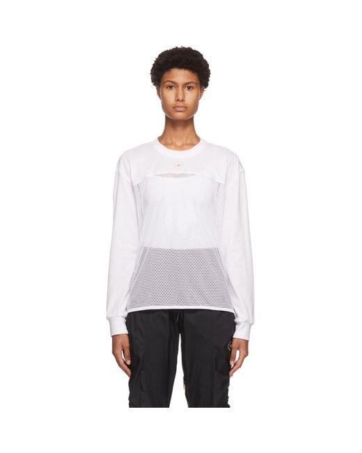 Adidas By Stella McCartney ホワイト メッシュ ロング スリーブ T シャツ White