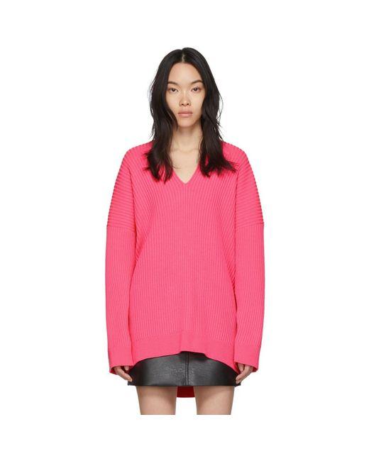 Balenciaga ピンク ニット V ネック セーター Pink