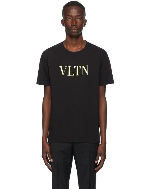 メンズ Valentino ブラック & イエロー Vltn T シャツ Black