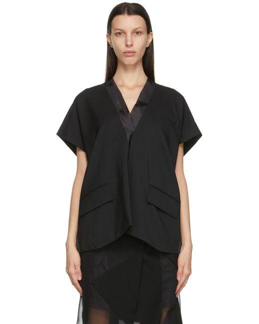 Sacai ブラック Suiting V ネック プルオーバー Black