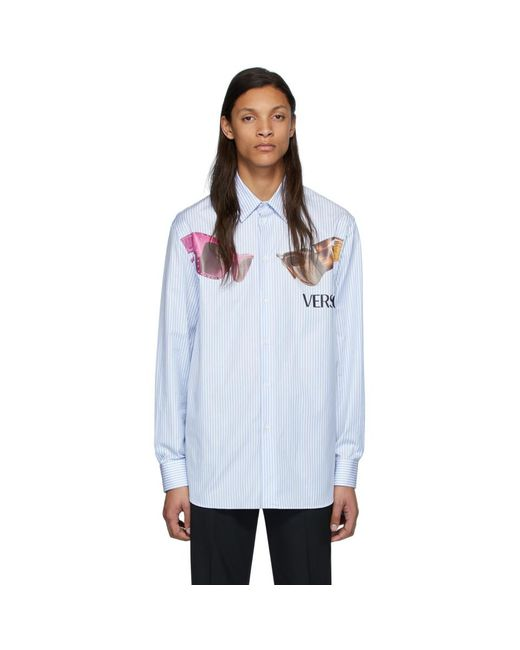 メンズ Versace ホワイト And ブルー ストライプ サングラス プリント シャツ Blue