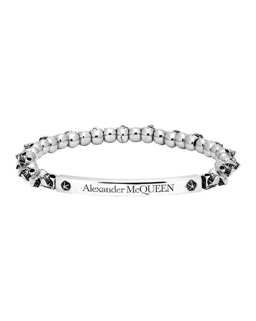 メンズ Alexander McQueen シルバー スカル ブレスレット Metallic