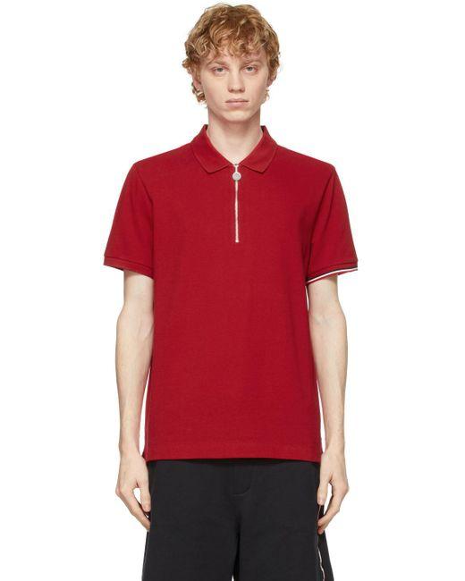 メンズ Moncler レッド トリコロール ロゴ ポロシャツ Red
