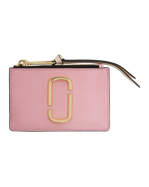 Marc Jacobs ピンク And レッド トップ ジッパー マルチ カード ホルダー Pink