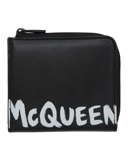 メンズ Alexander McQueen ブラック グラフィティ ジップ コイン パース Black