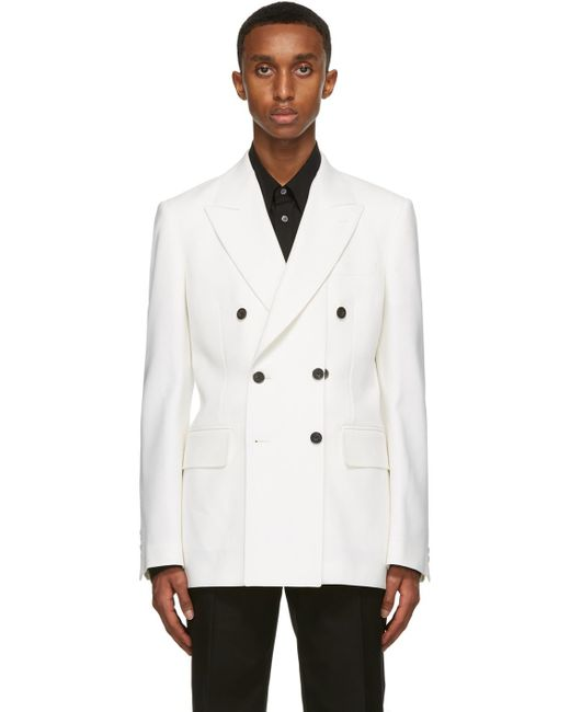 メンズ Alexander McQueen ホワイト ウール ダブルブレスト ブレザー White