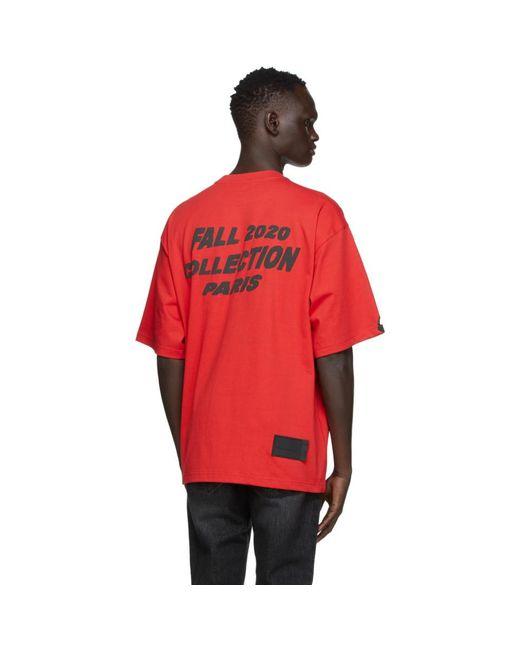 メンズ we11done レッド スタック ロゴ T シャツ Red