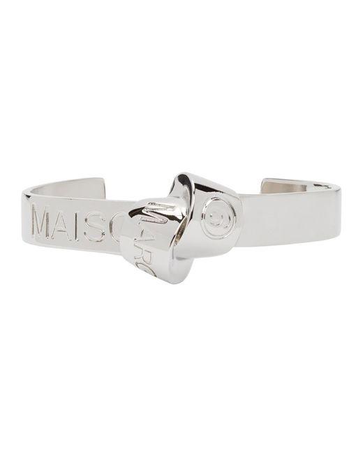 MM6 by Maison Martin Margiela Metallic Silver Knot Logo Cuff Bracelet