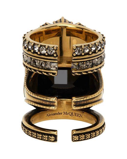 Alexander McQueen ゴールド Jewelled Stacked リング Metallic