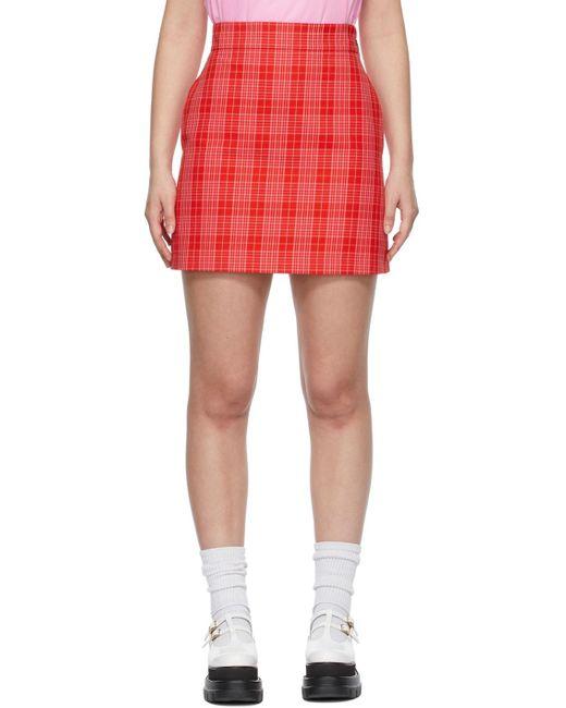 MSGM レッド & ピンク タータン プリント ミニスカート Red