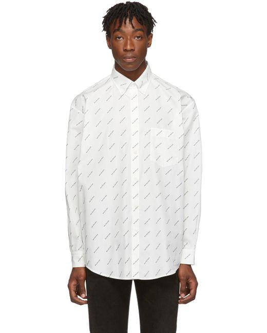 メンズ Balenciaga ホワイト & ブラック オールオーバー ロゴ シャツ White