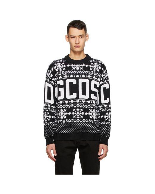 メンズ Gcds ブラック クリスマス ロゴ セーター Black