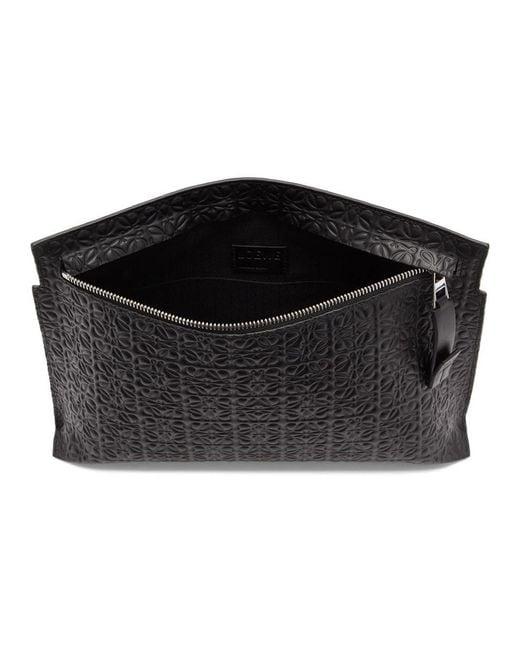 メンズ Loewe ブラック T リピート ポーチ Black
