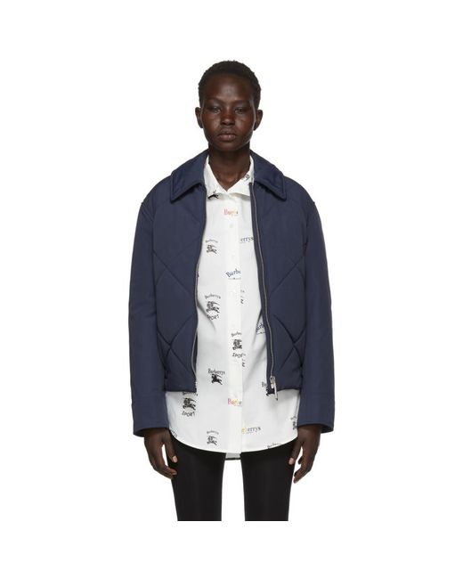 Burberry - Blue Navy Quilted Technical Blend Jacket for Men - Lyst