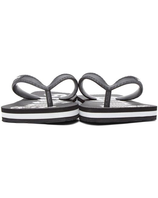 Palm Angels ブラック & ホワイト New ロゴ ビーチ サンダル Black