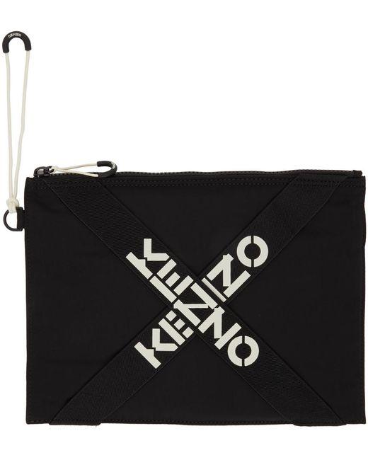 メンズ KENZO ブラック ラージ Sport ロゴ ポーチ Black
