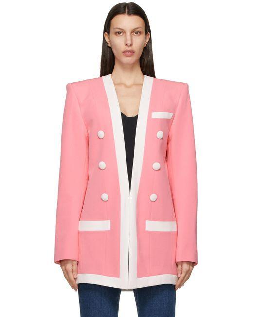 Balmain ピンク & ホワイト ブレザー Pink