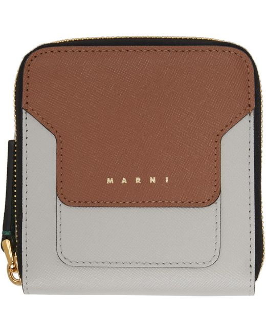 Marni グレー & ブラウン ジップアラウンド ウォレット Multicolor