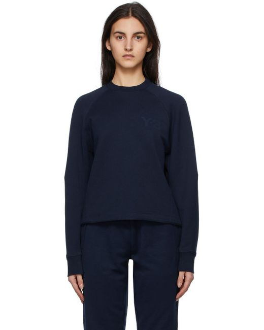 Y-3 ネイビー ロゴ スウェットシャツ Blue