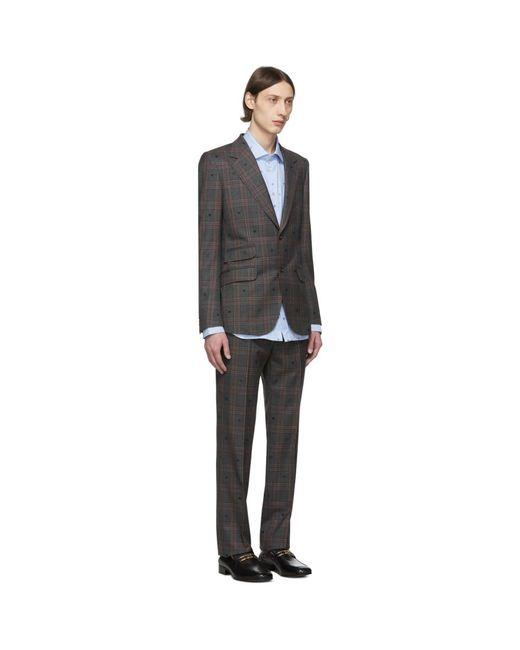 メンズ Gucci グレー And レッド ビー And ハート スーツ Gray