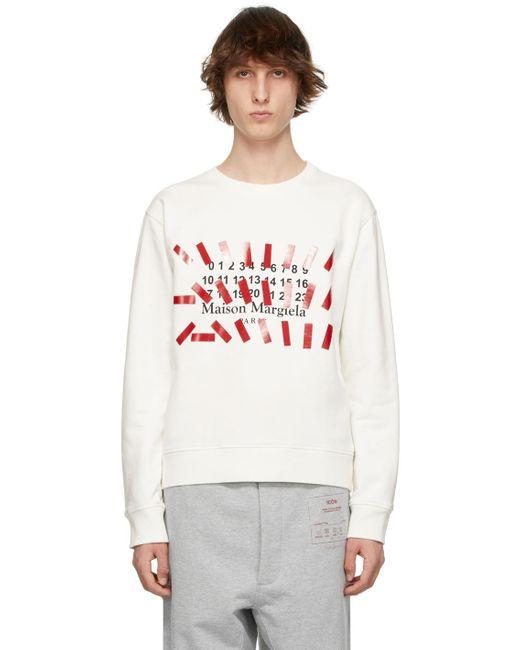 メンズ Maison Margiela オフホワイト Tape プリント スウェットシャツ White