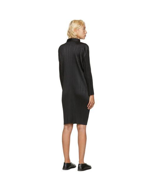 Pleats Please Issey Miyake ブラック ミッドレングス シャツ ドレス Black