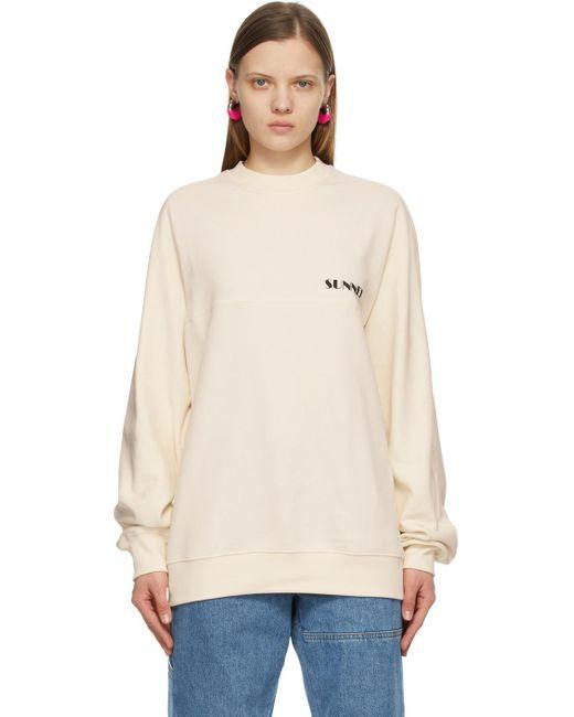 Sunnei オフホワイト ロゴ スウェットシャツ Natural