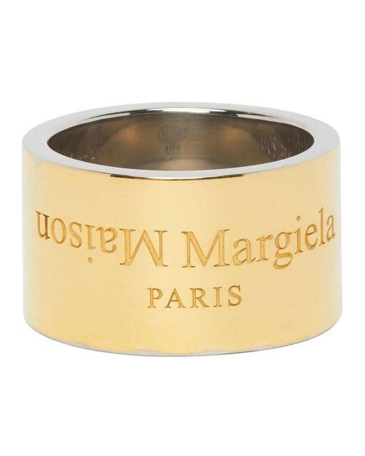 メンズ Maison Margiela ゴールド ポリッシュ ワイド ロゴ リング Metallic