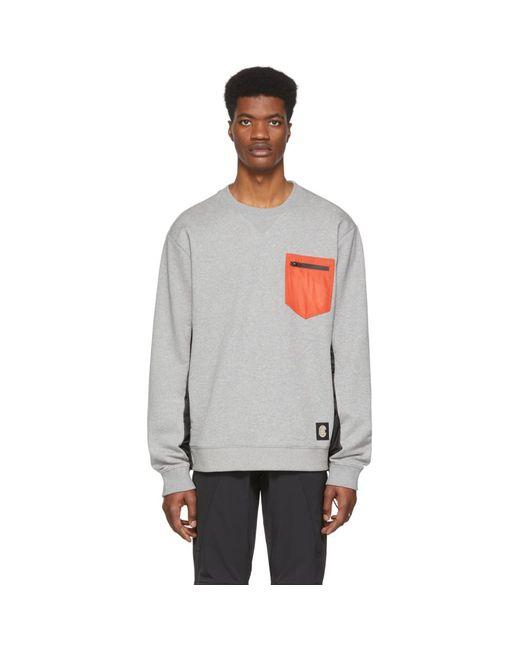メンズ COACH グレー パッチ ポケット スウェットシャツ Black