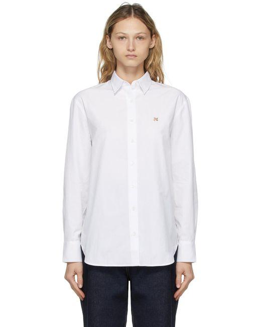 Maison Kitsuné ホワイト Fox Head Embroidery Classic シャツ White