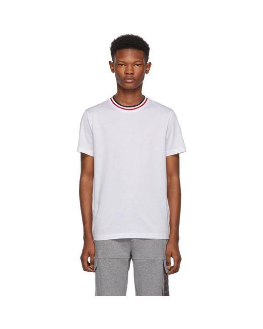 メンズ Moncler ホワイト Maglia コントラスト カラー T シャツ White