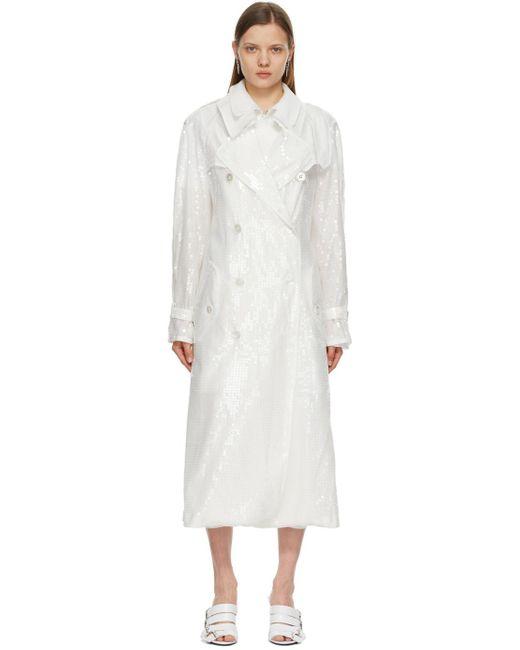 Junya Watanabe ホワイト ダブルブレスト トレンチ コート White