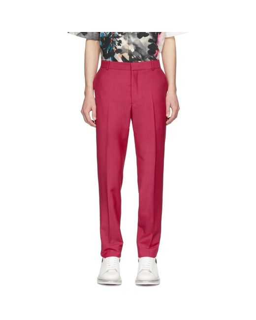 メンズ Alexander McQueen ピンク セルビッジ ウール And モヘア トラウザーズ Pink
