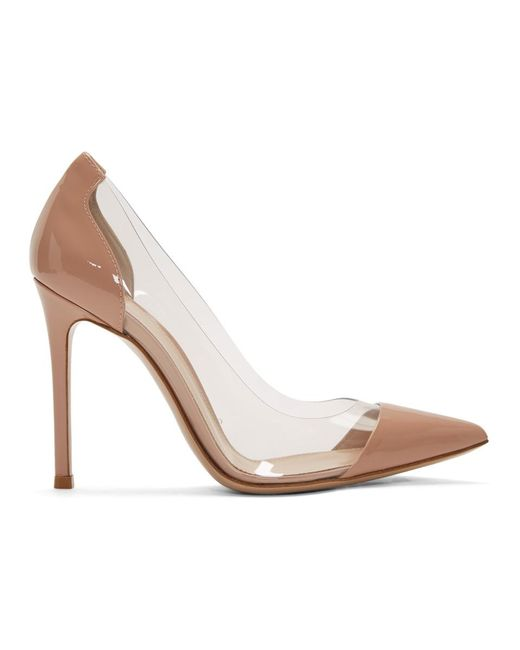 Gianvito Rossi ピンク パテント プレキシ ヒール Pink