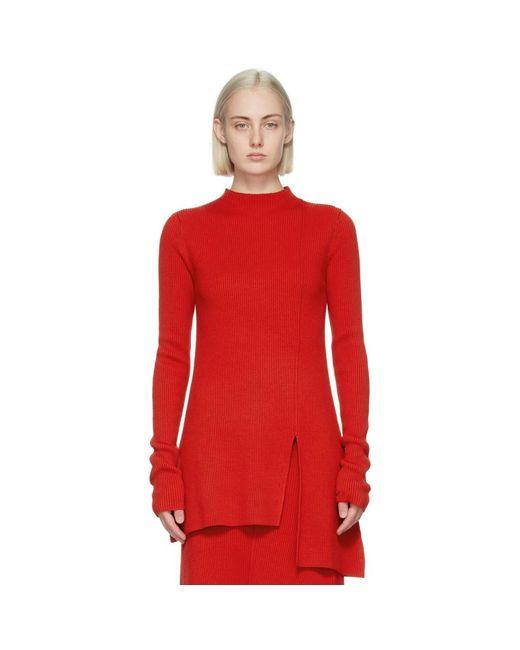 KENZO レッド ウール アシンメトリ チュニック セーター Red