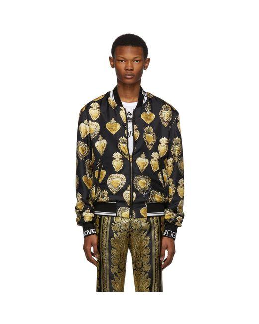 Dolce & Gabbana Black Silk Sacred Heart Bomber Jacket for men