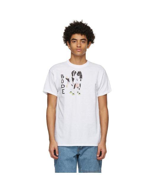 メンズ Bode ホワイト Hand-drawn Cows Tail T シャツ White