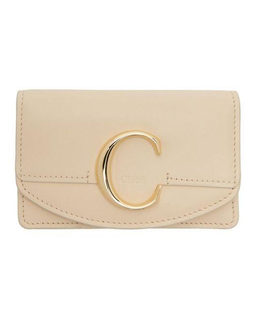 Chloé ベージュ スモール C カード ホルダー Natural
