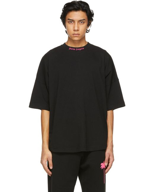 メンズ Palm Angels ブラック ダブル ロゴ T シャツ Black